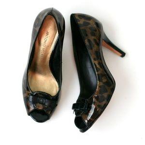 Antonio Melani patent leather tortoise open heels